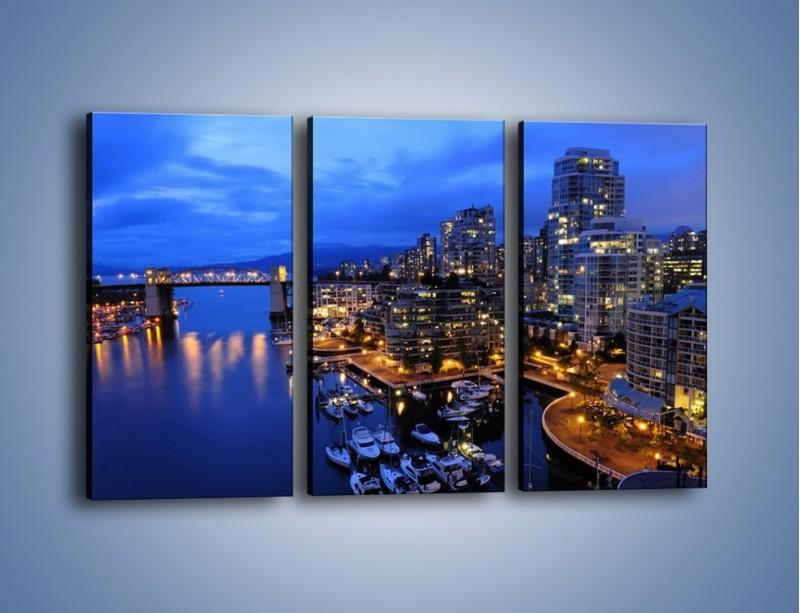 Obraz na płótnie – Port na jachty w mieście nocą – trzyczęściowy AM250W2