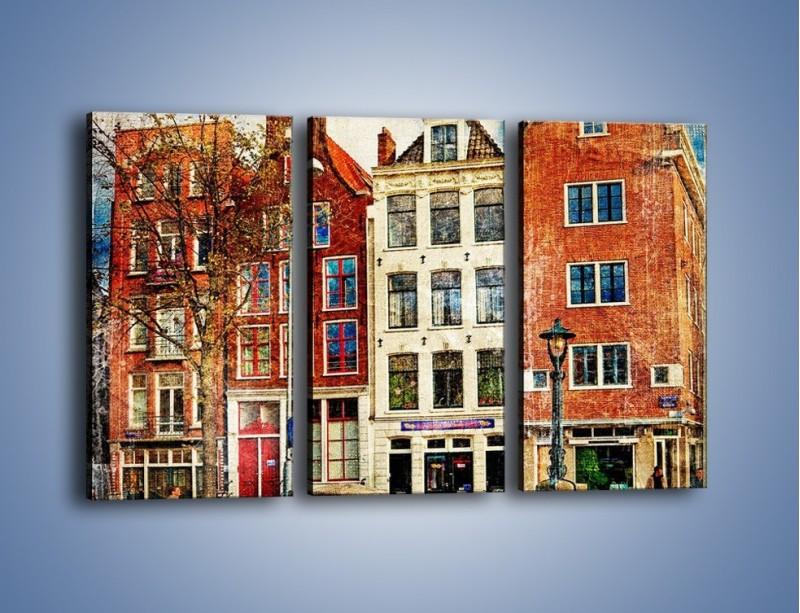 Obraz na płótnie – Amsterdam w stylu vintage – trzyczęściowy AM258W2