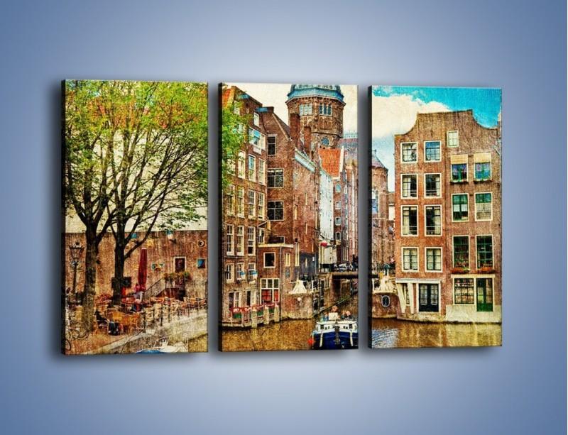 Obraz na płótnie – Kanał w Amsterdamie vintage – trzyczęściowy AM259W2