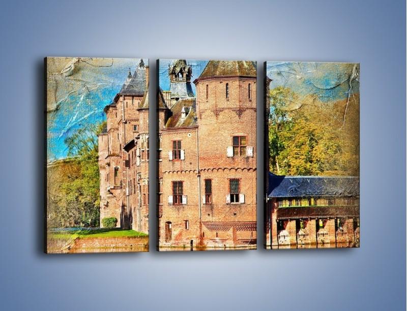 Obraz na płótnie – Zamek nad wodą w stylu vintage – trzyczęściowy AM262W2