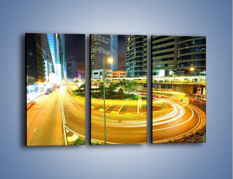 Obraz na płótnie – Światła samochodów w ruchu – trzyczęściowy AM280W2
