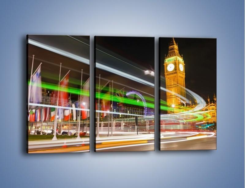 Obraz na płótnie – Światła samochodów na tle Big Bena – trzyczęściowy AM283W2