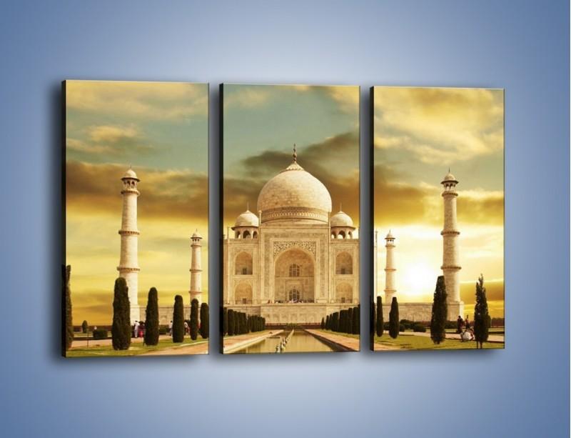 Obraz na płótnie – Tadź Mahal o zachodzie słońca – trzyczęściowy AM285W2