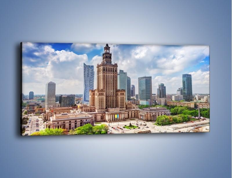 Obraz na płótnie – Pałac Kultury i Nauki w Warszawie – jednoczęściowy panoramiczny AM806