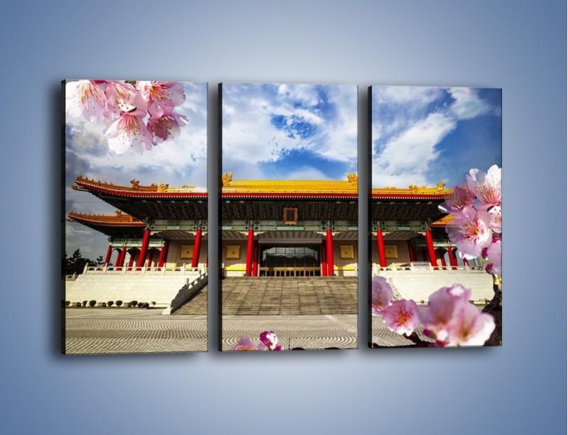 Obraz na płótnie – Azjatycka architektura z kwiatami – trzyczęściowy AM298W2
