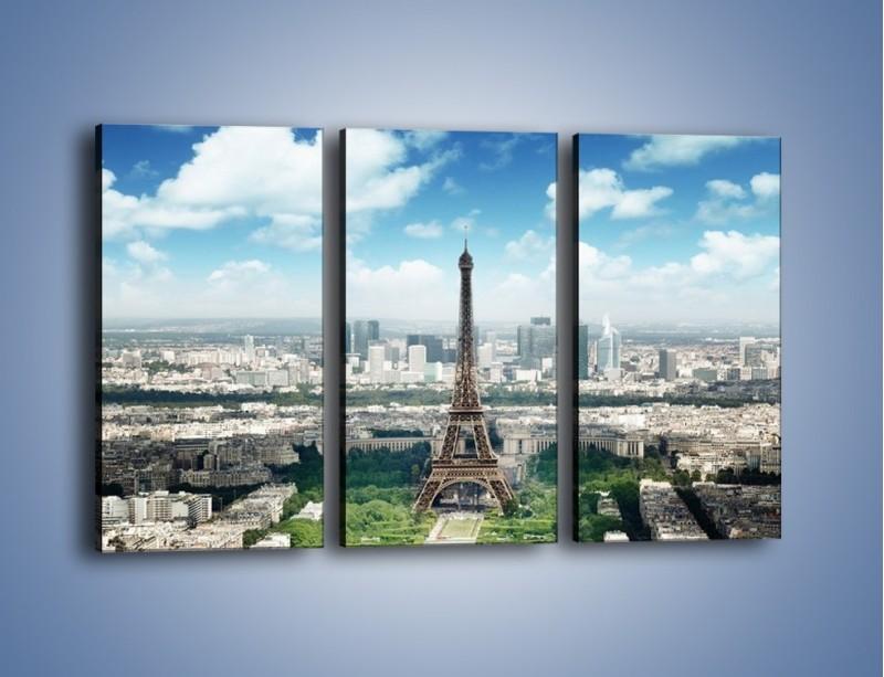 Obraz na płótnie – Chmury nad Wieżą Eiffla – trzyczęściowy AM302W2