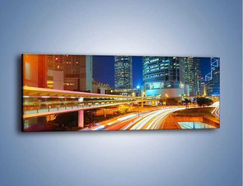 Obraz na płótnie – Nocne kolory miasta – jednoczęściowy panoramiczny AM808