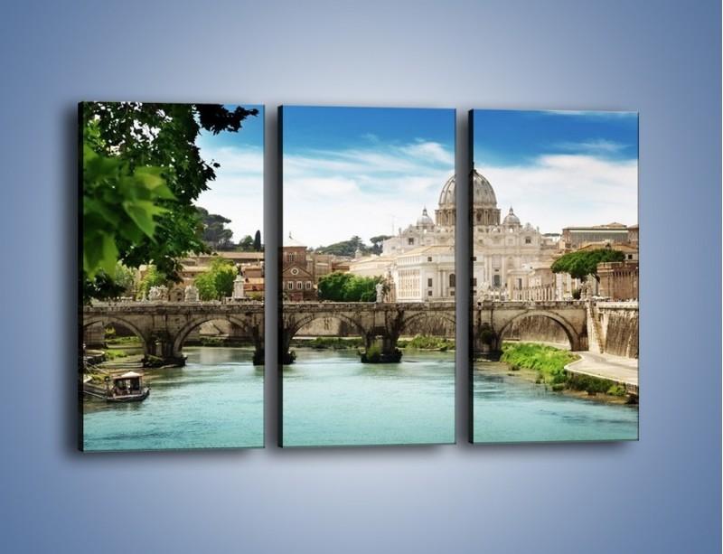 Obraz na płótnie – Rzeka Tyber na tle bazyliki – trzyczęściowy AM303W2