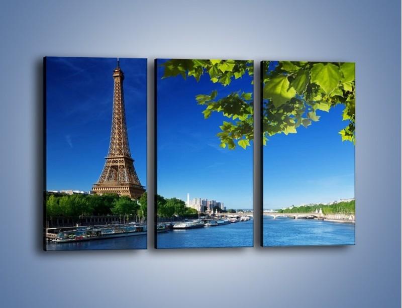 Obraz na płótnie – Wieża Eiffla w piękny dzień – trzyczęściowy AM304W2