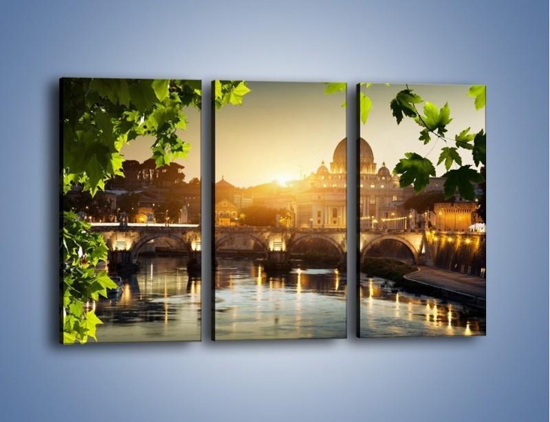 Obraz na płótnie – Bazylika w Rzymie o zachodzie słońca – trzyczęściowy AM306W2
