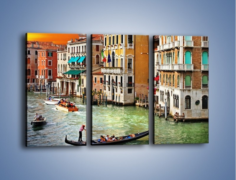 Obraz na płótnie – Kolory Wenecji o zachodzie słońca – trzyczęściowy AM307W2