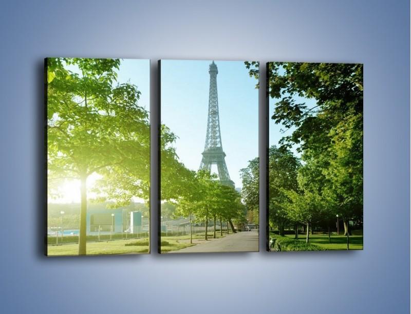 Obraz na płótnie – Uliczka w parku na tle Wieży Eiffla – trzyczęściowy AM308W2