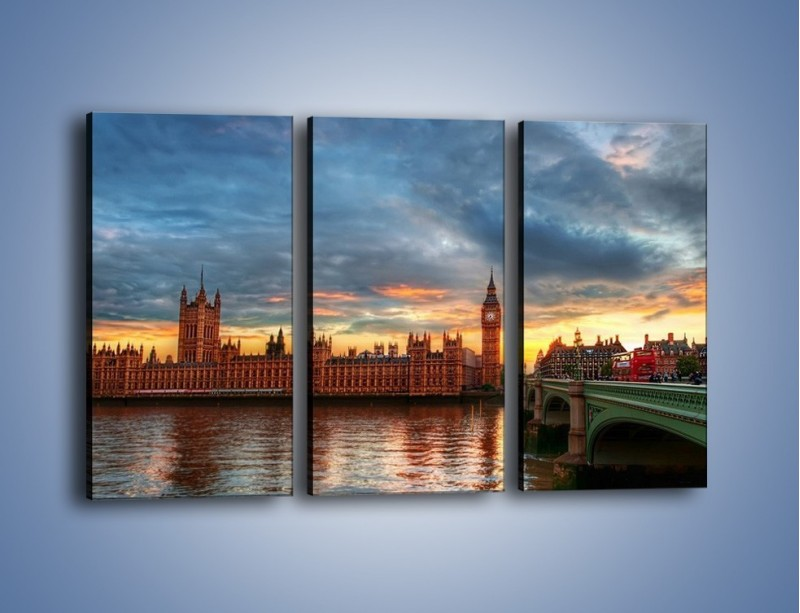 Obraz na płótnie – Pałac Westmnisterski i Big Ben – trzyczęściowy AM321W2