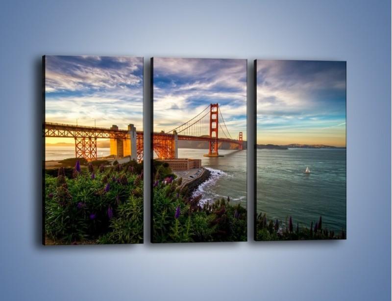 Obraz na płótnie – Most Golden Gate o zachodzie słońca – trzyczęściowy AM332W2