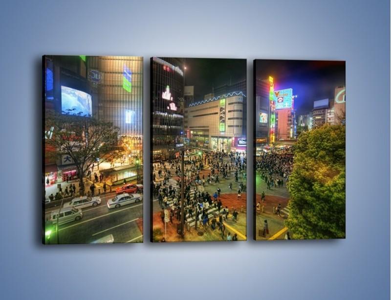 Obraz na płótnie – Zatłoczone ulice Toyko nocą – trzyczęściowy AM333W2