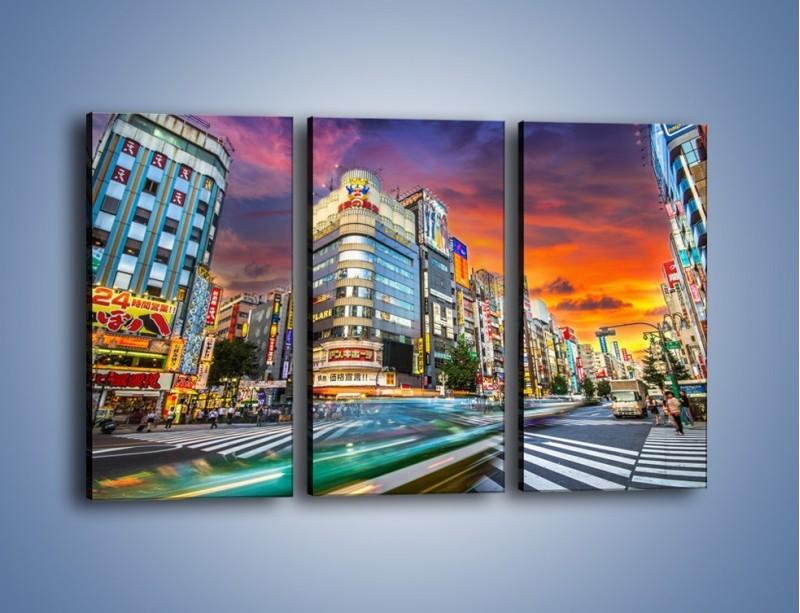 Obraz na płótnie – Tokyo na tle kolorowego nieba – trzyczęściowy AM336W2
