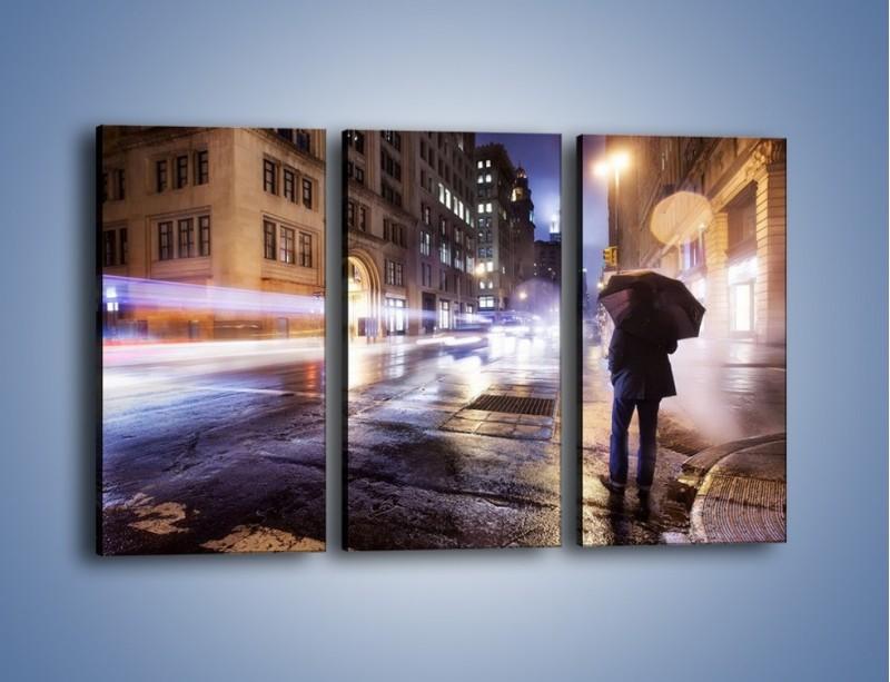 Obraz na płótnie – Deszczowa noc w Nowym Jorku – trzyczęściowy AM343W2