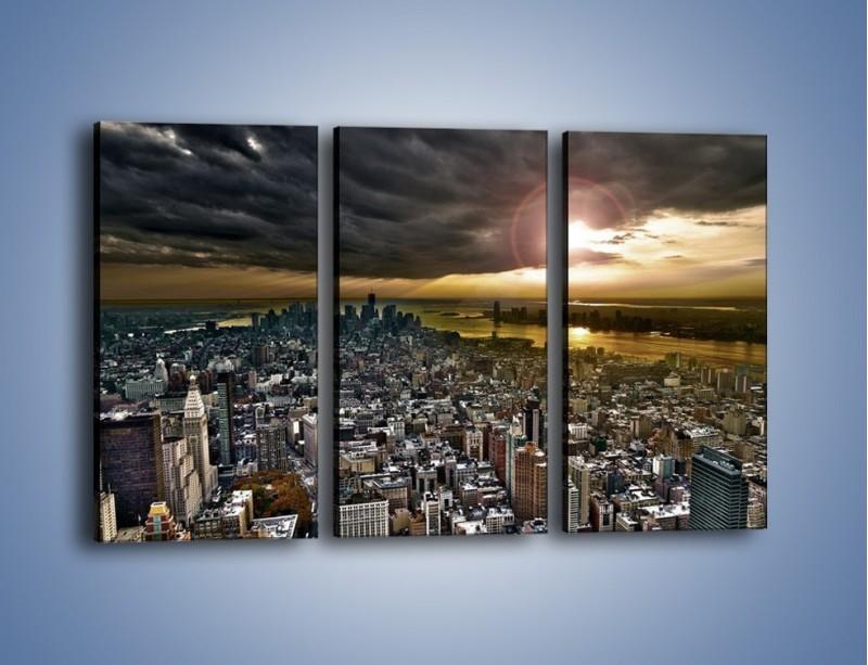Obraz na płótnie – Czarne chmury nad Nowym Yorkiem – trzyczęściowy AM347W2