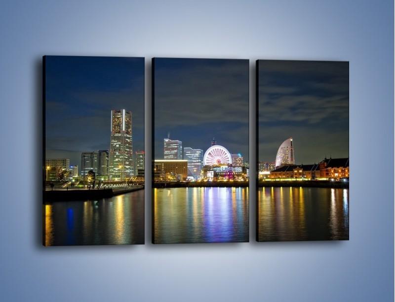 Obraz na płótnie – Yokohama nocą – trzyczęściowy AM353W2