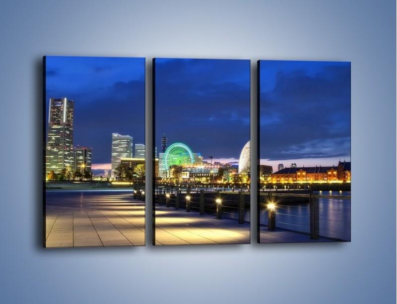 Obraz na płótnie – Rozświetlona Yokohama w nocy – trzyczęściowy AM355W2