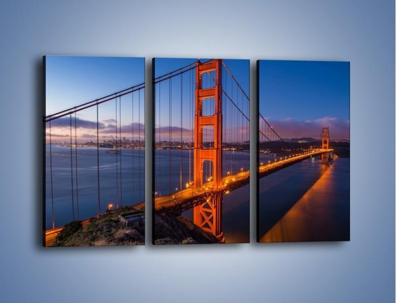Obraz na płótnie – Rozświetlony most Golden Gate – trzyczęściowy AM360W2