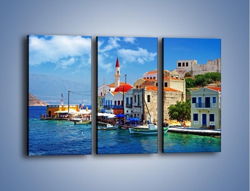 Obraz na płótnie – Kolorowe domki Santorini w Grecji – trzyczęściowy AM364W2