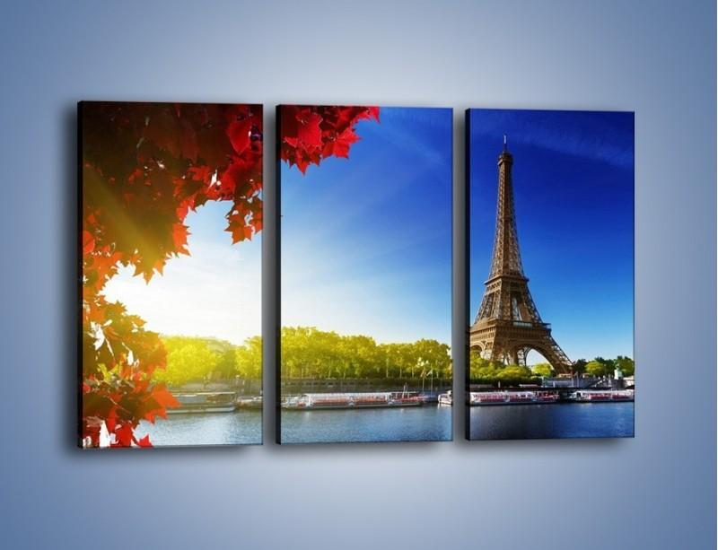 Obraz na płótnie – Wieża Eiffla w piękny dzień – trzyczęściowy AM373W2