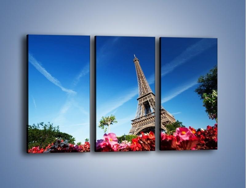 Obraz na płótnie – Wieża Eiffla pod błękitnym niebem – trzyczęściowy AM379W2