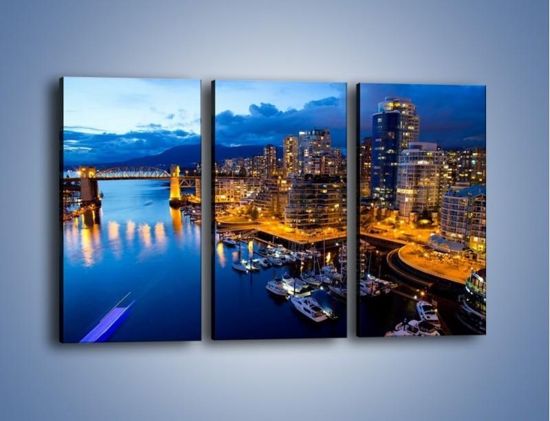 Obraz na płótnie – Zapadająca noc nad Vancouver – trzyczęściowy AM384W2