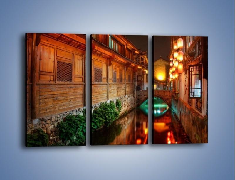 Obraz na płótnie – Kanał w chińskim mieście Lijiang – trzyczęściowy AM391W2