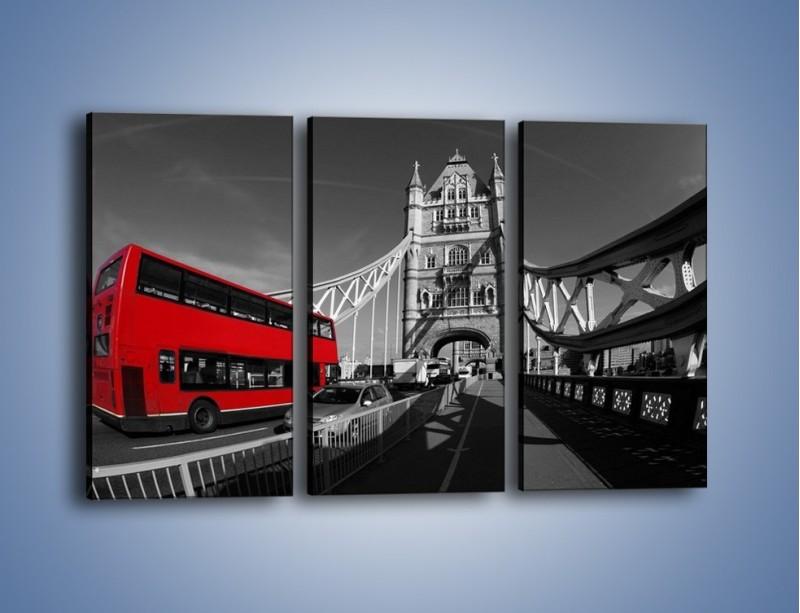 Obraz na płótnie – Tower Bridge i czerwony autobus – trzyczęściowy AM394W2