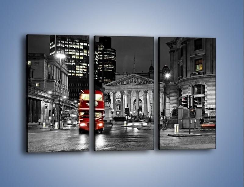 Obraz na płótnie – Czerwony autobus w Londynie – trzyczęściowy AM395W2