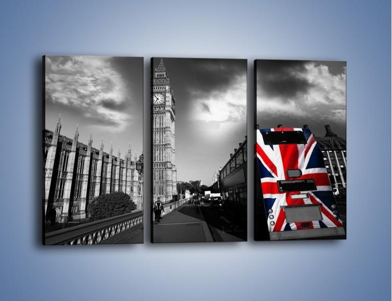 Obraz na płótnie – Big Ben i autobus z flagą UK – trzyczęściowy AM396W2
