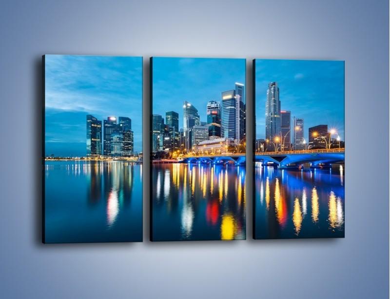 Obraz na płótnie – Kolorowe światła Singapuru – trzyczęściowy AM408W2