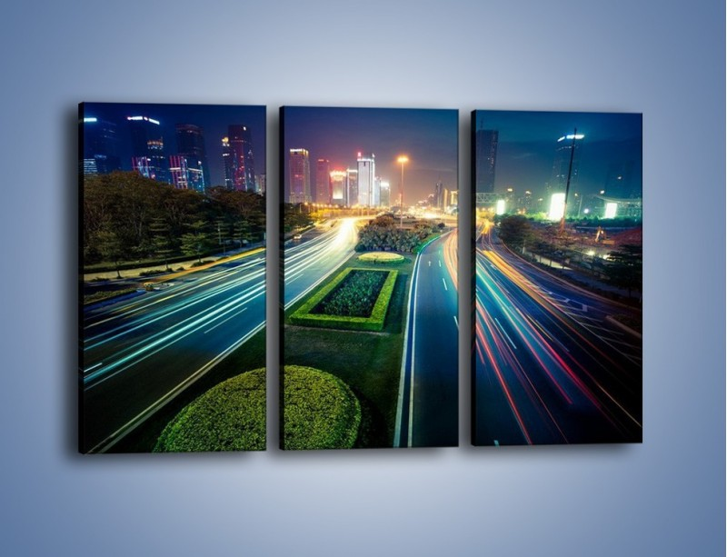 Obraz na płótnie – Uliczne światła Szanghaju – trzyczęściowy AM409W2