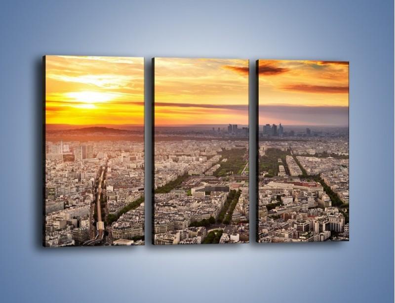 Obraz na płótnie – Zachód słońca nad Paryżem – trzyczęściowy AM420W2