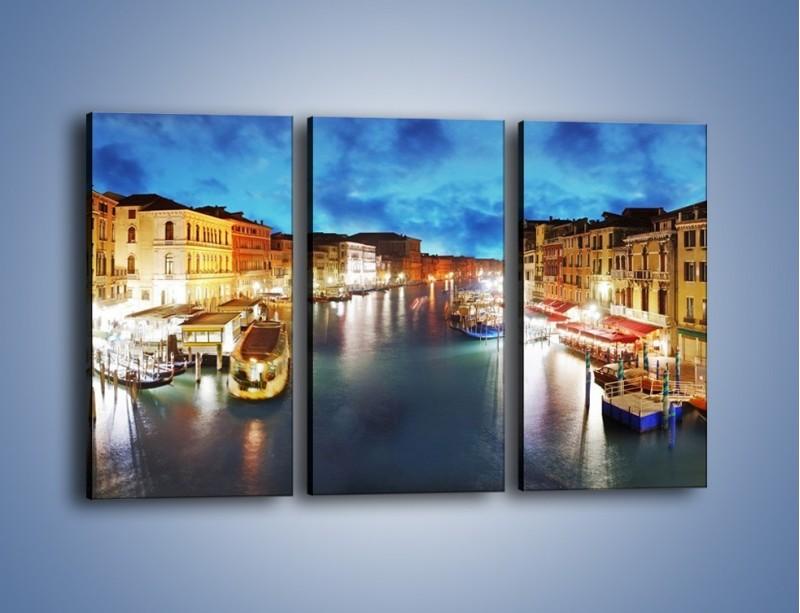 Obraz na płótnie – Światła Wenecji po zmroku – trzyczęściowy AM430W2