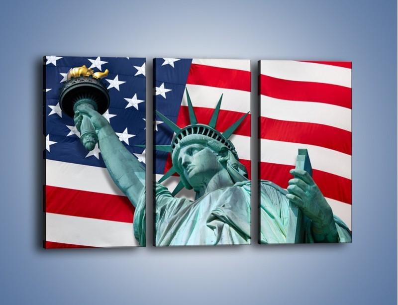 Obraz na płótnie – Statua Wolności na tle flagi USA – trzyczęściowy AM435W2