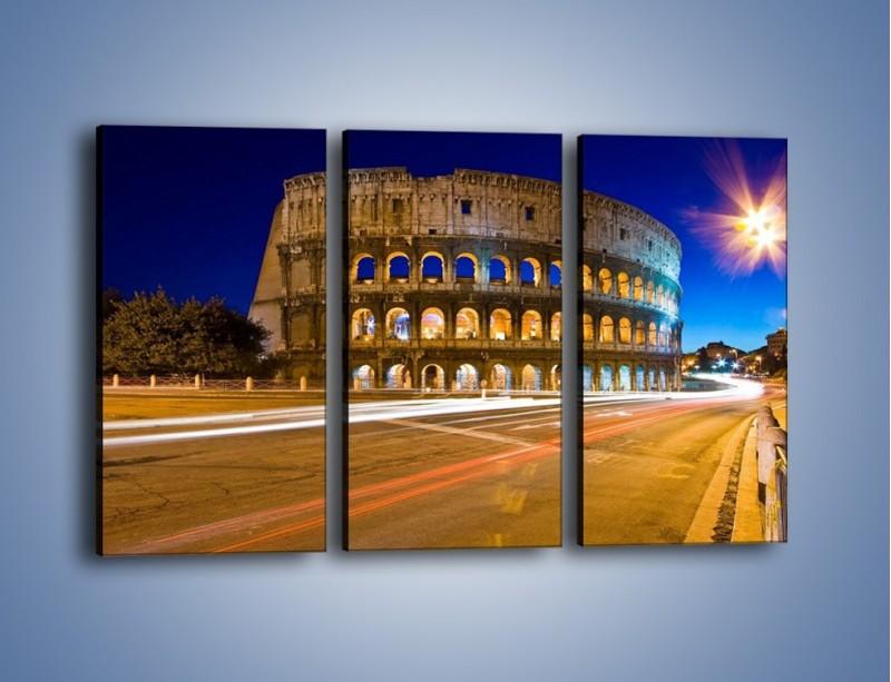 Obraz na płótnie – Koloseum po zmierzchu – trzyczęściowy AM443W2