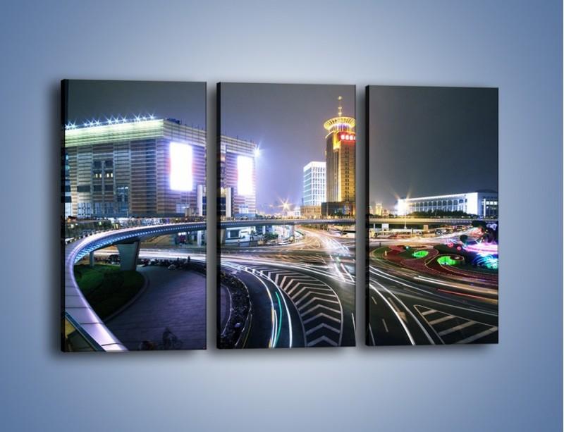 Obraz na płótnie – Oświetlone skrzyżowanie ulic w Szanghaju – trzyczęściowy AM446W2