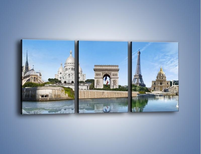 Obraz na płótnie – Atrakcje turystyczne Paryża – trzyczęściowy AM448W2