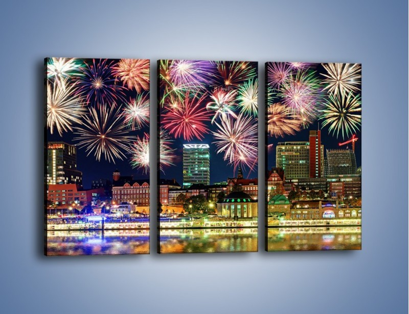 Obraz na płótnie – Noworoczne fajerwerki nad miastem – trzyczęściowy AM452W2