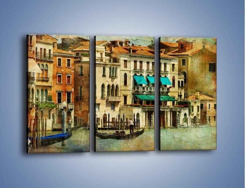 Obraz na płótnie – Weneckie domy w stylu vintage – trzyczęściowy AM459W2