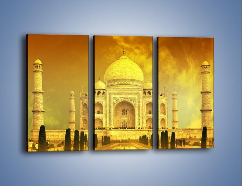 Obraz na płótnie – Tadź Mahal w żółtym kolorze – trzyczęściowy AM465W2