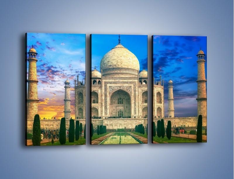 Obraz na płótnie – Tadź Mahal pod niebieskim niebem – trzyczęściowy AM466W2