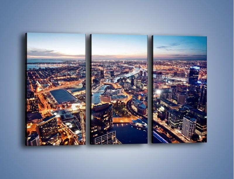 Obraz na płótnie – Panorama Melbourne po zmierzchu – trzyczęściowy AM470W2