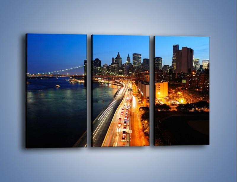 Obraz na płótnie – Manhattan wieczorową porą – trzyczęściowy AM477W2