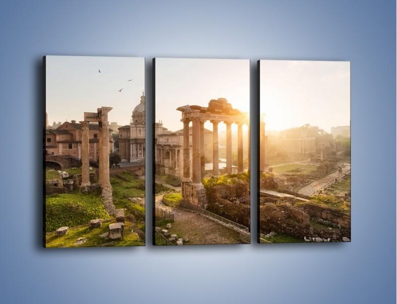 Obraz na płótnie – Rzymskie ruiny o zachodzie słońca – trzyczęściowy AM480W2