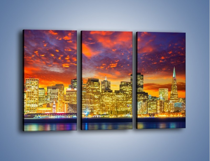Obraz na płótnie – Wieżowce San Francisco nad wodą – trzyczęściowy AM481W2