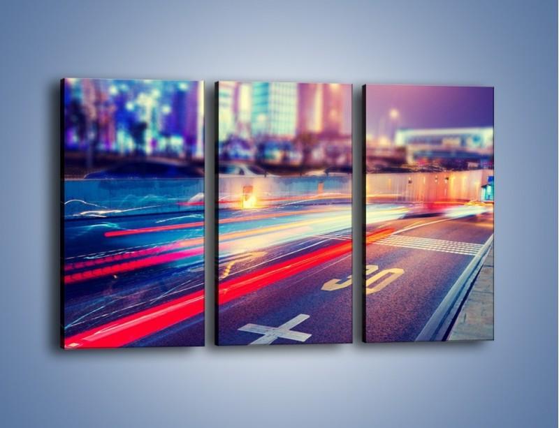 Obraz na płótnie – Ulica w ruchu świateł samochodowych – trzyczęściowy AM482W2